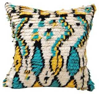 Moroccan Azilal Wool Pillow, Turquoise - One Kings Lane