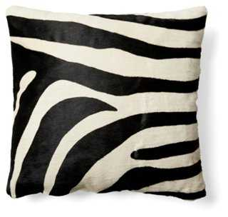 Zebra Hide Pillow, Black/White - One Kings Lane