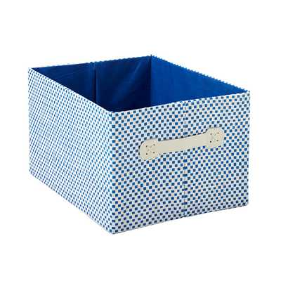 Large Gingham Bin Blue - containerstore.com