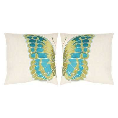 "Safavieh 2-Pack Indra Wing Toss Pillows - 18""sq. - Polyester fill - Target"