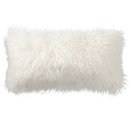 "Mongolian Faux Fur Pillow Cover- 12 X 24"" LUMBAR- IVORY- Insert sold separately - Pottery Barn"