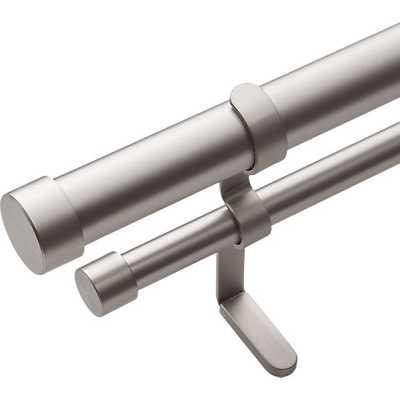 brushed aluminum double rod curtain rod - CB2