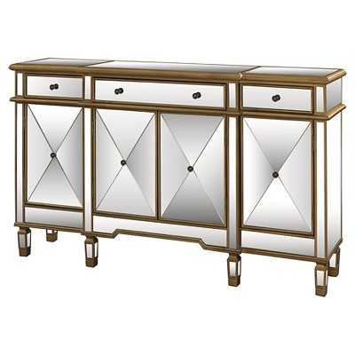 Console 3 Drawers 4 Doors - Gold and Mirrored - Target