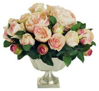 "13"" English Rose Arrangement, Faux - One Kings Lane"