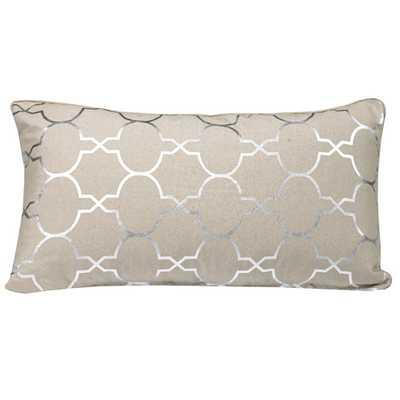 """Salisbury Foil Tile Lumbar Pillow - Silver - 14"""" H x 26"""" W - Down/Feather insert - Wayfair"""