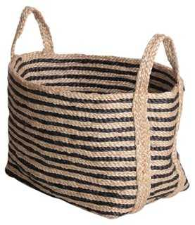 Small Jute Floor Basket, Charcoal Stripe - One Kings Lane