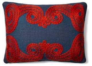 Vinita 16x22 Embroidered Pillow, Blue - One Kings Lane