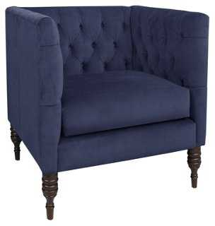 Churchill Tufted Club Chair, Blue - One Kings Lane