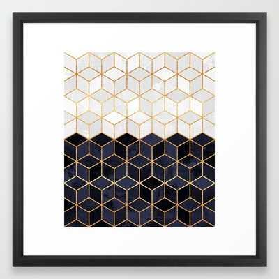 """White & Navy Cubes- 22"""" x22""""- Framed - Society6"""
