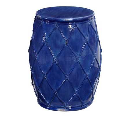 Net Ceramic Accent Table - Blue - Pottery Barn
