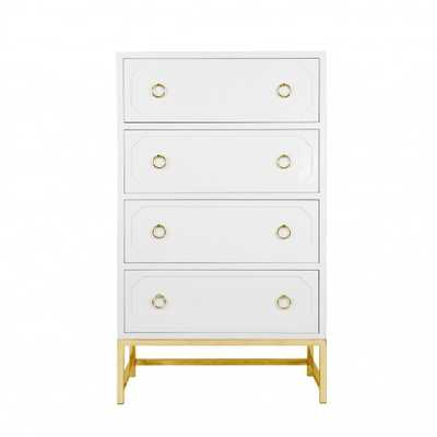 Worlds Away Bentley White Lacquer with Brass Accents - See more at: http://www.wellappointedhouse.co - The Well Appointed House