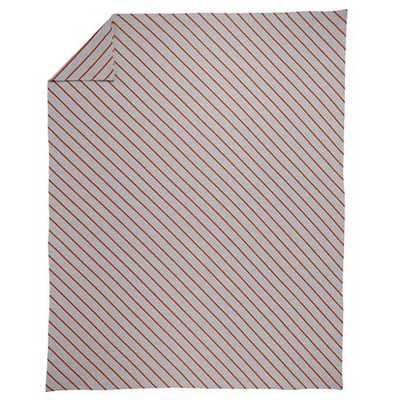 Twin Little Prints Orange Stripe Duvet Cover - Land of Nod