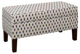 Breene Storage Bench, Navy Textured Dot - One Kings Lane