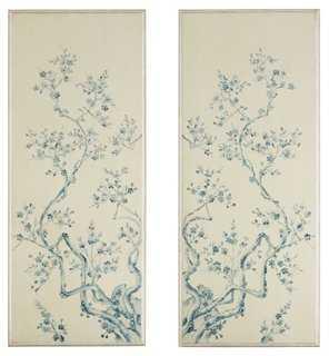 S/2 Cherry Blossom Panels, Blue/White - One Kings Lane