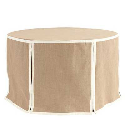"Paneled Party Tablecloth Burlap - 108"" - Off-White Trim - Ballard Designs"