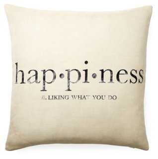 Happiness 20x20 Pillow, Oatmeal - One Kings Lane