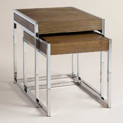 Wood and Chrome Pierceson Nesting Tables, Set of 2 - World Market/Cost Plus