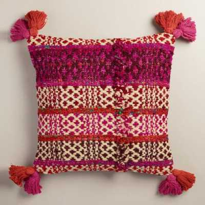Pink Stripe Wool and Silk Throw Pillow - World Market/Cost Plus