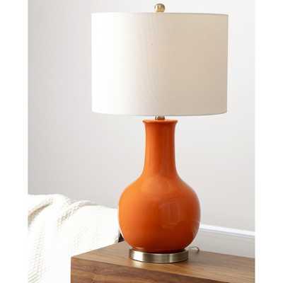ABBYSON LIVING Gourd Orange Ceramic Table Lamp - Overstock