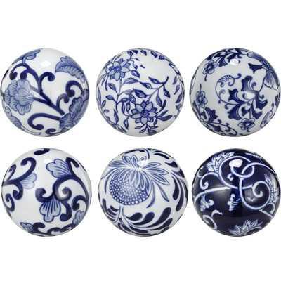 6 Piece Decorative Round Ceramic Ball Set - Wayfair