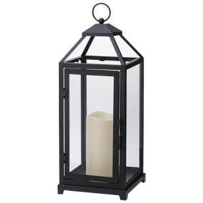 Decorative Lantern with LED Candle - Black - Target
