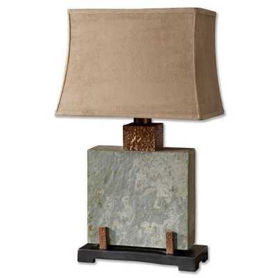 "Slate 29"" H Table Lamp with Bell Shade - Wayfair"