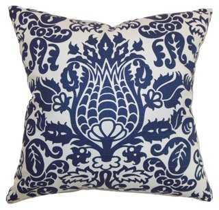 Dolbeau 18x18 Cotton Pillow, Blue - One Kings Lane
