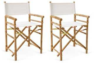 Outdoor-Safe Director's Chairs, Pair, White - One Kings Lane
