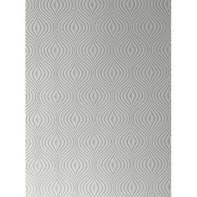 "Paintable Curvy 32.8' x 20.5"" Geometric Embossed Wallpaper - AllModern"