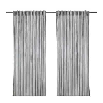 GULSPORRE Curtains, 1 pair, white, gray - Ikea
