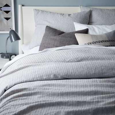 Striped Belgian Flax Linen Duvet Cover-Full/Queen-Slate - West Elm