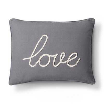 """Love Decorative Pillow- Gray-20""""x20""""-With Insert - Target"""