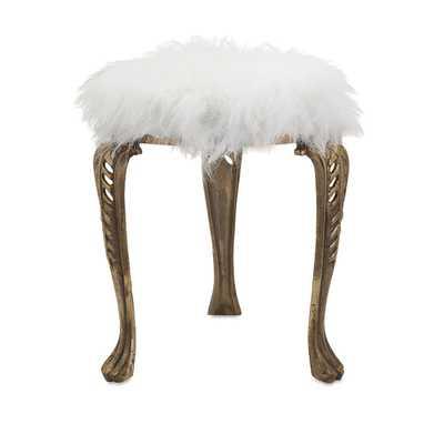 Nikki Chu Neely White Fur Stool - Overstock