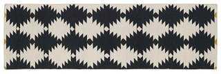 Elsa Flat-Weave Rug, Black - One Kings Lane