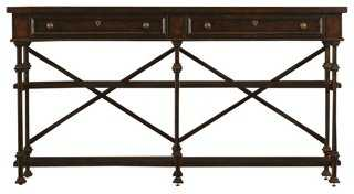 "Belgian 73"" Cross Console, Chocolate - One Kings Lane"