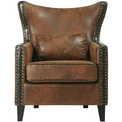 MELONI ARMCHAIR - Brown Faux Suede - Home Decorators
