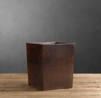 Artisan Leather Waste Basket Chocolate - RH