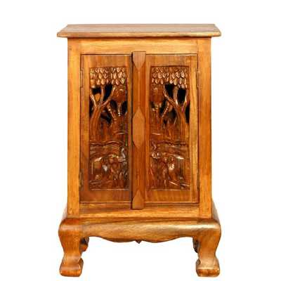 "Handmade 24"" Royal Elephants Storage Cabinet / Nightstand - Natural Finish - Wayfair"