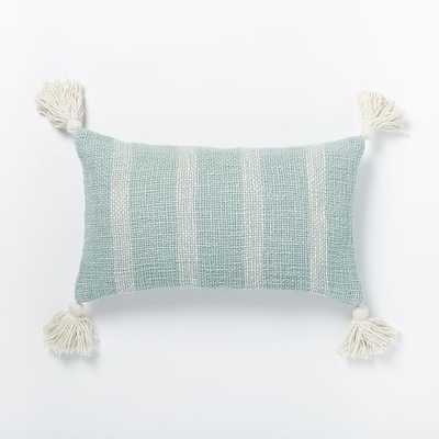 "Tassel Stripe Pillow Cover - Pale Harbor- 12"" x 21"" insert sold separately - West Elm"