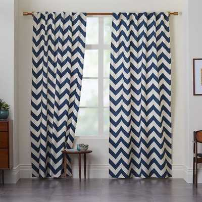 "Cotton Canvas Zigzag Curtain - Blue Lagoon-108"" - West Elm"