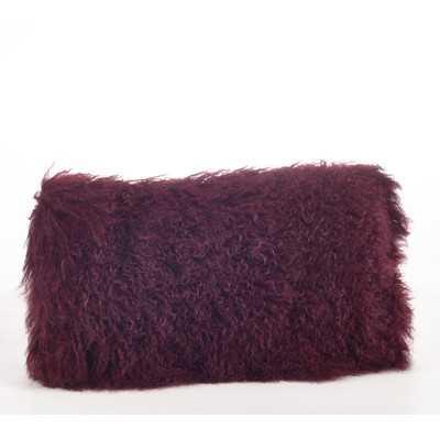 """Mongolian Lamb Fur Lumbar Pillow- 7"""" H x 12"""" W x 20"""" D-Polyester/Polyfill - Wayfair"""