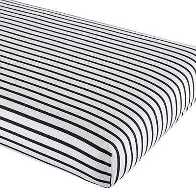 Noir Stripe Crib Sheet - Land of Nod