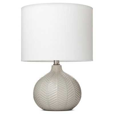 Herringbone Ceramic Table Lamp - Gray - Target
