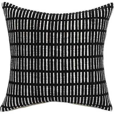 "Prim White, Black 18"" pillow with down-alternative insert - CB2"