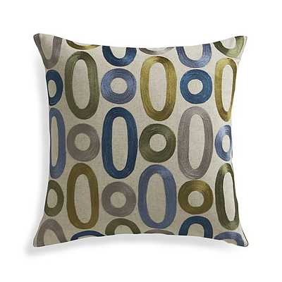 "Molina 18"" Pillow with Feather-Down Insert, Blue, green and taupe - Crate and Barrel"