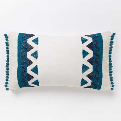 "Zigzag Border Lumbar Pillow Cover- 12""w x 21""l.- Blue Teal- Insert Sold Separately - West Elm"