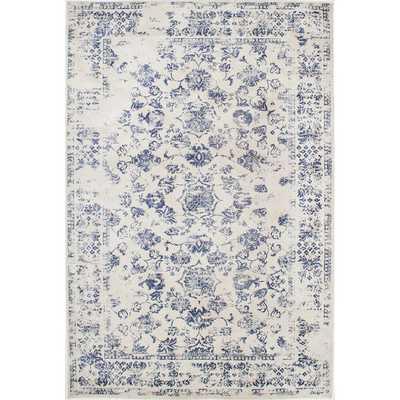 Vintage Floral Vines Blue Rug - Overstock