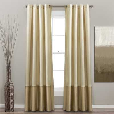 "Lush Decor Prima Ivory/ Taupe Curtain Panel Pair - 95""L - Overstock"