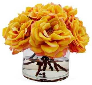 """11"""" Bloomed Roses in Vase, Faux - One Kings Lane"""