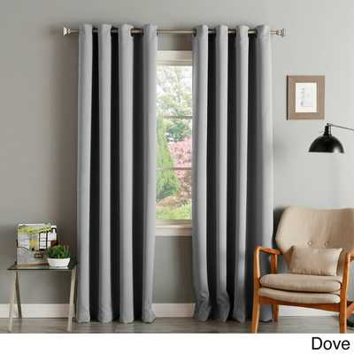 "Aurora Home Thermal Insulated Blackout Grommet Top Curtain Panel Pair - 120""L x 52""W (Dove) - Overstock"